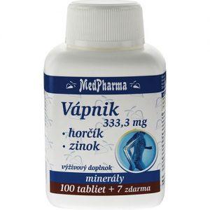 Vápnik 333,3 mg + Horčík + Zinok (100+7 tabliet)